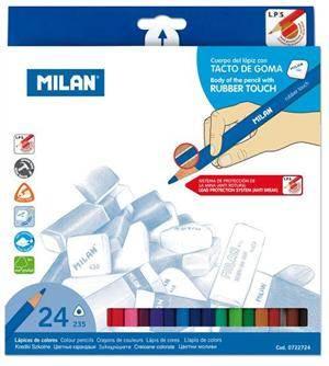 Kredki 24 kolory Rubber touch trójkatne Milan
