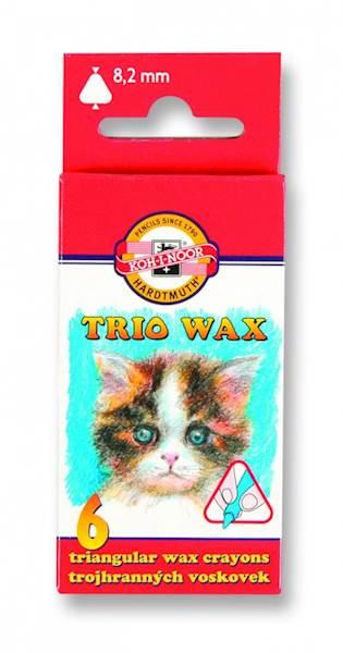 Kredki 6 kolorów TRIO WAX  Koh i Noor