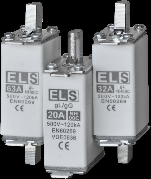 Wkładka bezpiecznikowa ELS NH00C 25A gL 500V 120kA