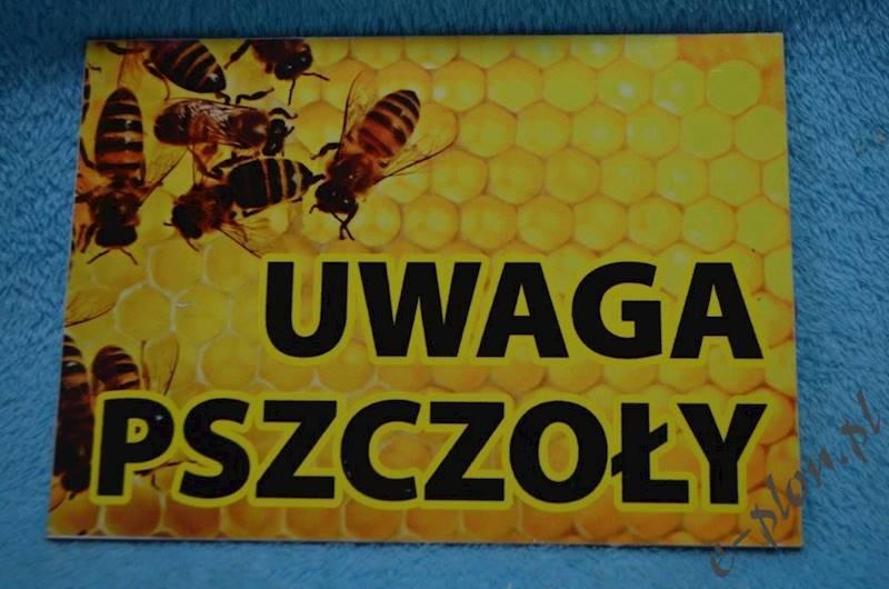 """Tabliczka """"Uwaga pszczoły"""" format A5 - wzór T2"""