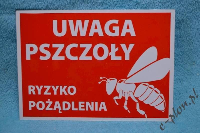 """Tabliczka """"Uwaga pszczoły"""" format A4 - wzór T5"""