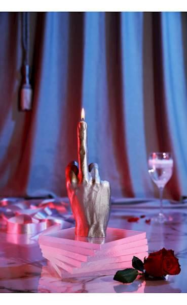 Świeca Candle Hand FCK Silver