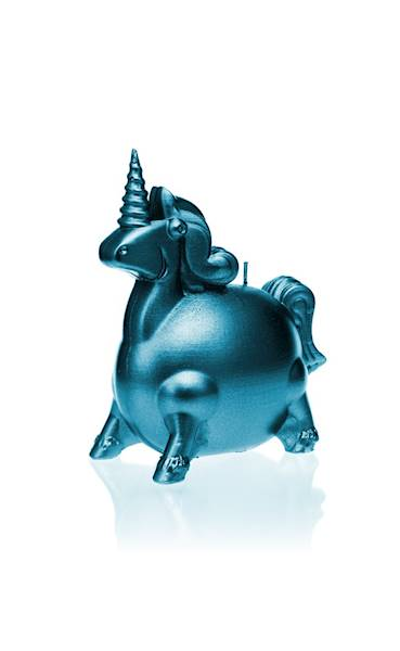 Świeca Candle Funny Unicorn Blue Metallic