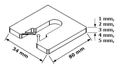 "Podkładka dystansowa ""U"" 2x34x80mm, 100 szt."