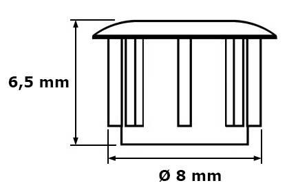 Zaślepka Ø 8 mm, szary RAL 7001, 100 szt.