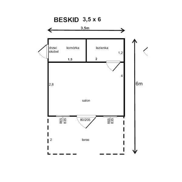 DOMEK BESKID 350x600 typ B z przedziałami