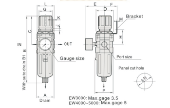"""UP EW3000-02 FILTR REGULATOR FR 1/4"""""""