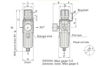 """UP EW4000-03 FILTR REGULATOR FR 3/8"""""""