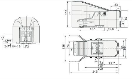 UP F522C-08 ZAWÓR NOŻNY 5/2 BEZ BLOKADY MONOSTAB.