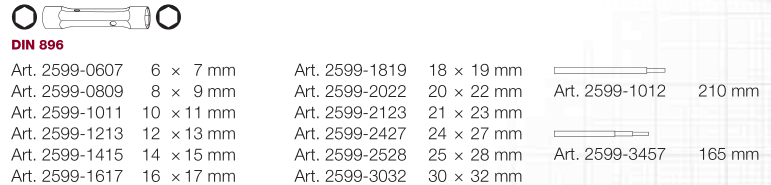 KW 2599-2022 KLUCZ RUROWY 20X22 MM